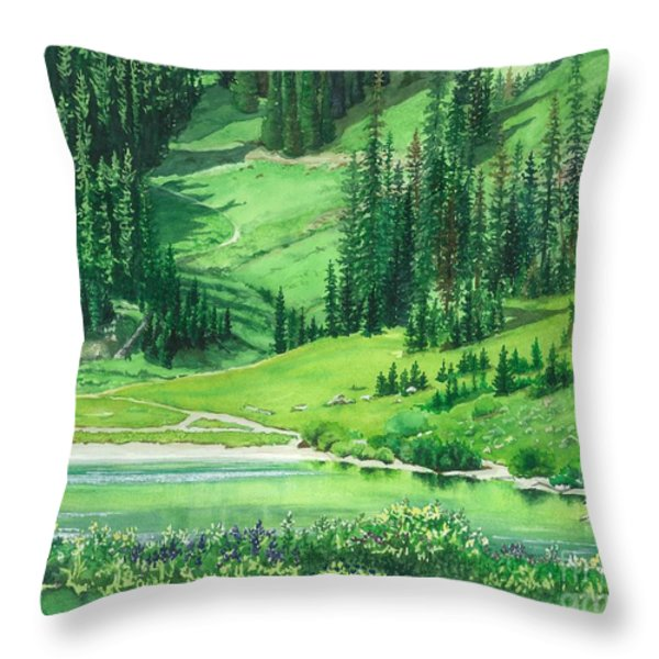 Emerald Lake Throw Pillow by Barbara Jewell