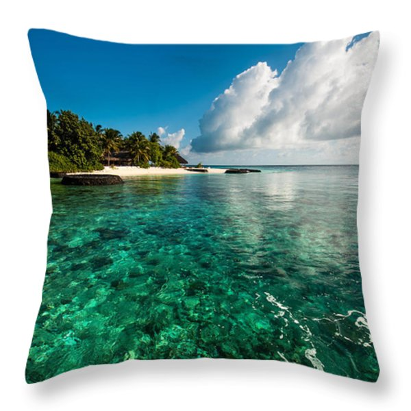 Emerald Purity. Kuramathi Resort. Maldives Throw Pillow by Jenny Rainbow