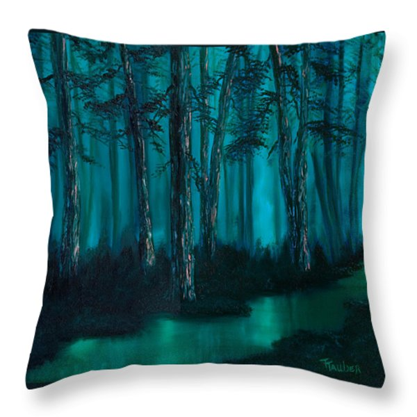 emerald stream Throw Pillow by Tracy Tauber