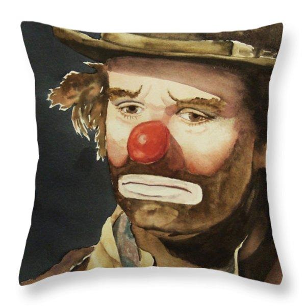 Emmett Kelly Throw Pillow by Linda Halom