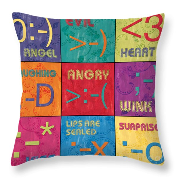 Emoticons Patch Throw Pillow by Debbie DeWitt