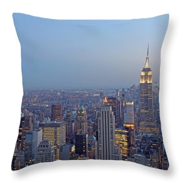 Empire State Building In Midtown Manhattan Throw Pillow by Juergen Roth