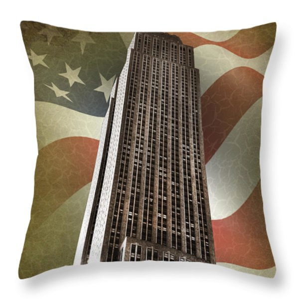 Empire State Building Throw Pillow by Mark Rogan