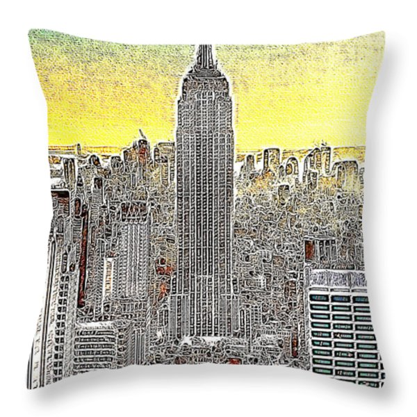 Empire State Building New York City 20130425 Throw Pillow by Wingsdomain Art and Photography