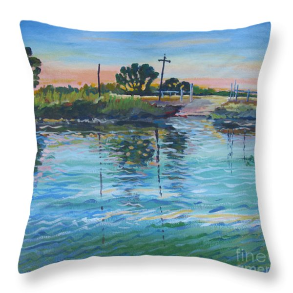 Empire Tract Ferry Throw Pillow by Vanessa Hadady BFA MA