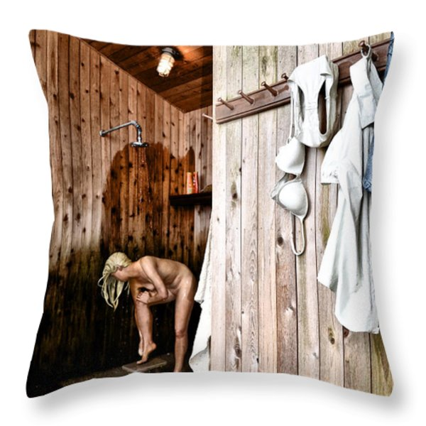 Employee Showers Throw Pillow by Bill Cannon