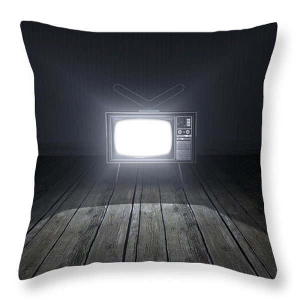 Empty Room With Illuminated Television Throw Pillow by Allan Swart
