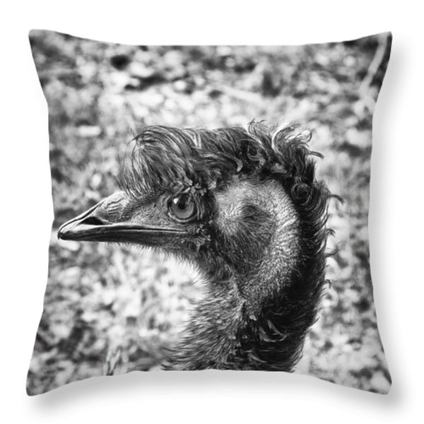 Emu Head Throw Pillow by Wim Lanclus