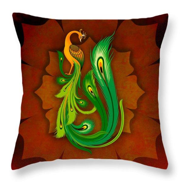 Enchanting Peacock 1 Throw Pillow by Bedros Awak
