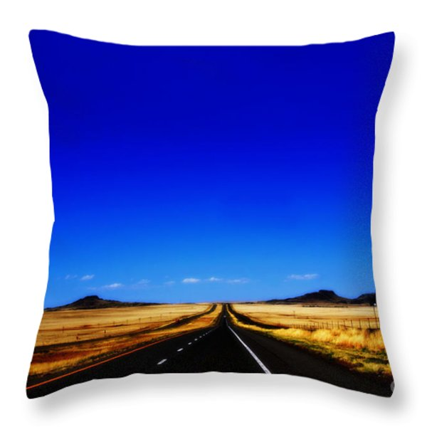 Endless Roads In New Mexico Throw Pillow by Susanne Van Hulst