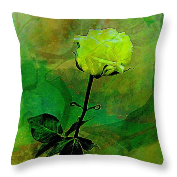 Enduring Yellow Rose Throw Pillow by Shirley Sirois