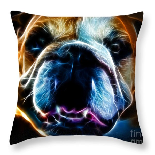 English Bulldog - Electric Throw Pillow by Wingsdomain Art and Photography
