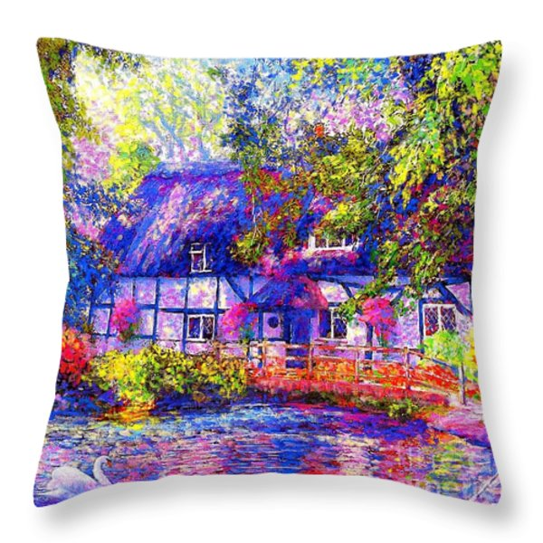 English Cottage Throw Pillow by Jane Small