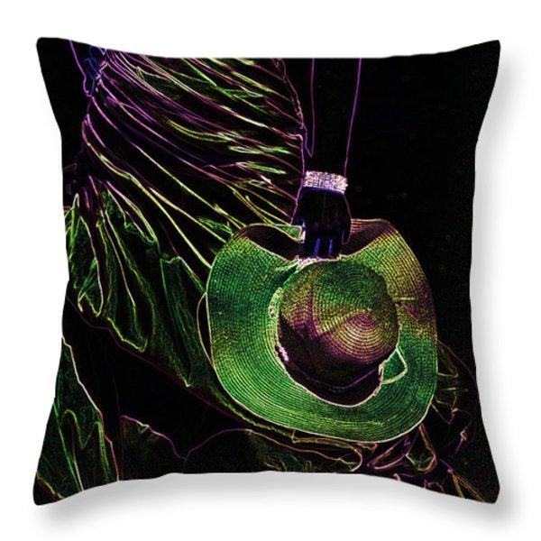 Enigma Emerald. Black Art Throw Pillow by Jenny Rainbow
