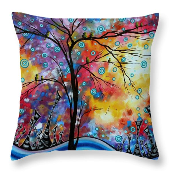 Enormous Whimsical Cityscape Tree Bird Painting Original Landscape Art Worlds Away By Madart Throw Pillow by Megan Duncanson