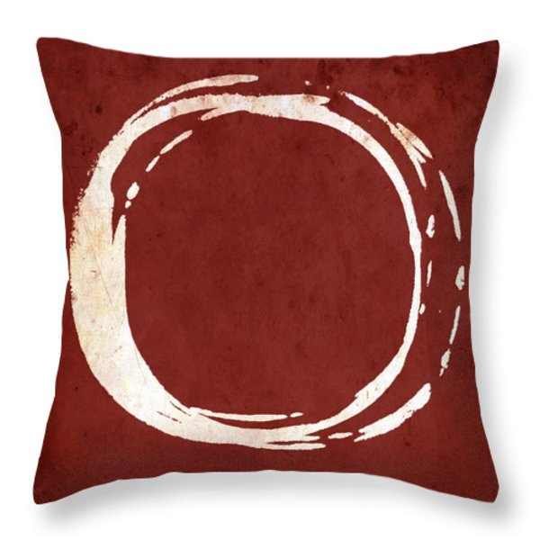 Enso No. 107 Red Throw Pillow by Julie Niemela