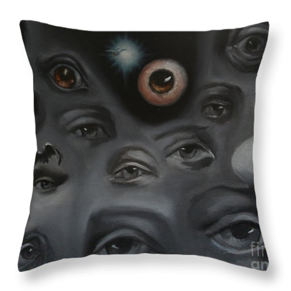 Enter-Preyes Throw Pillow by Lisa Phillips Owens