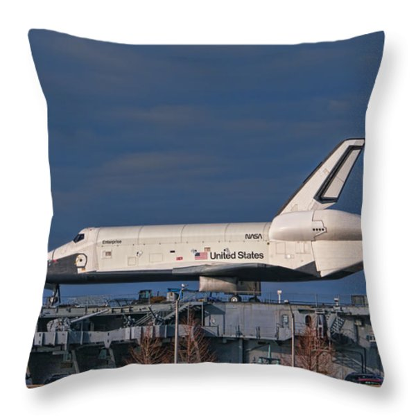 Enterprise at the Intrepid Throw Pillow by S Paul Sahm