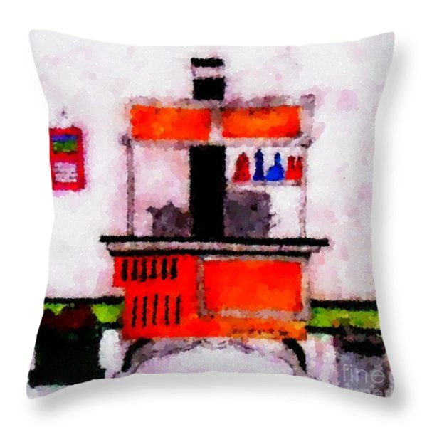 Enterprise Woodstove Throw Pillow by Barbara Griffin