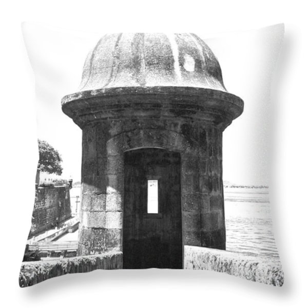 Entrance to Sentry Tower Castillo San Felipe Del Morro Fortress San Juan Puerto Rico BW Film Grain Throw Pillow by Shawn O'Brien