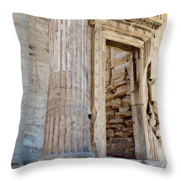 Entrance to the Temple of the Athena Nike Throw Pillow by Lorraine Devon Wilke