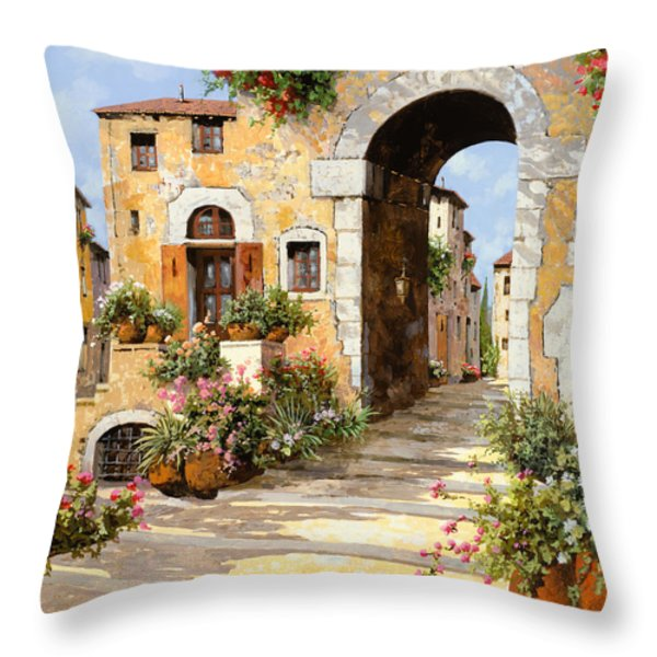 entrata al borgo Throw Pillow by Guido Borelli