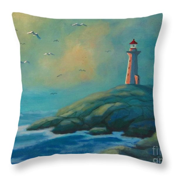 Envisioning Peggys Cove Lighthouse Throw Pillow by John Malone