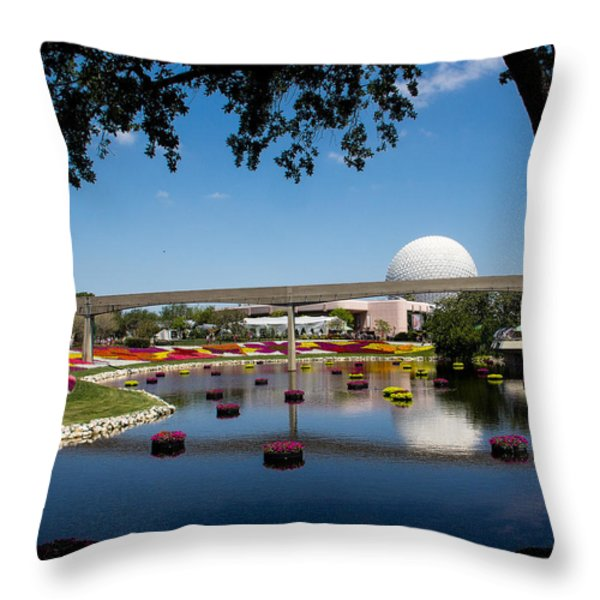 Epcot At Disney World Throw Pillow by Roger Wedegis