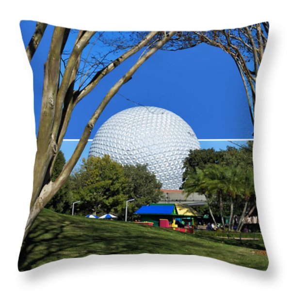 Epcot Globe 02 Throw Pillow by Thomas Woolworth