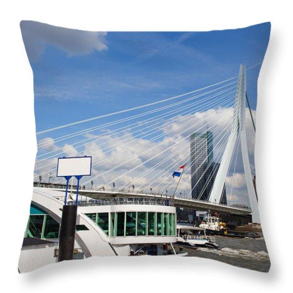 Erasmus Bridge in Rotterdam City Downtown Throw Pillow by Artur Bogacki