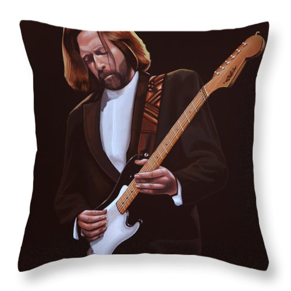 Eric Clapton Throw Pillow by Paul  Meijering
