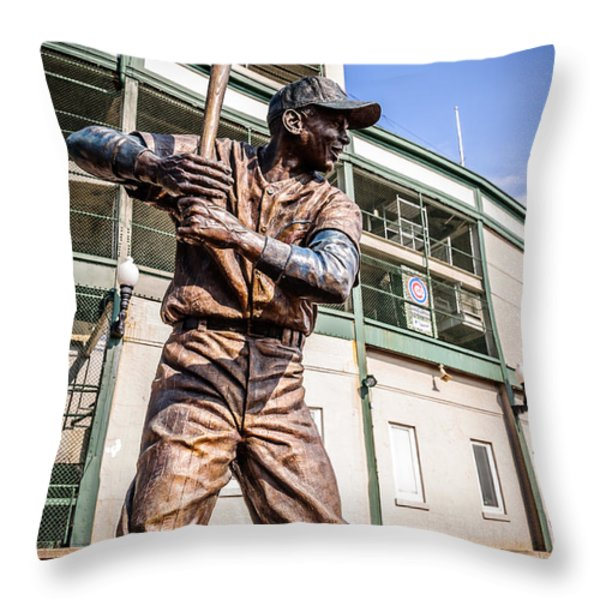Ernie Banks Statue at Wrigley Field  Throw Pillow by Paul Velgos