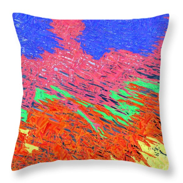 Erupting Lava Meets The Sea Throw Pillow by Joseph Baril