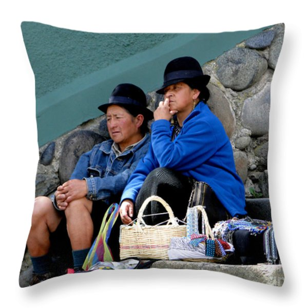 Escalinata Indigenous Jewelry Sales Throw Pillow by Al Bourassa