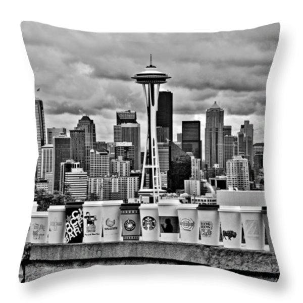 Espresso City Throw Pillow by Benjamin Yeager