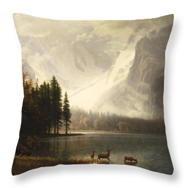Estes Park Colorado Whytes Lake Throw Pillow by Albert Bierstadt