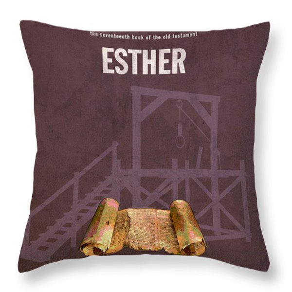 Esther Books Of The Bible Series Old Testament Minimal Poster Art Number 17 Throw Pillow by Design Turnpike