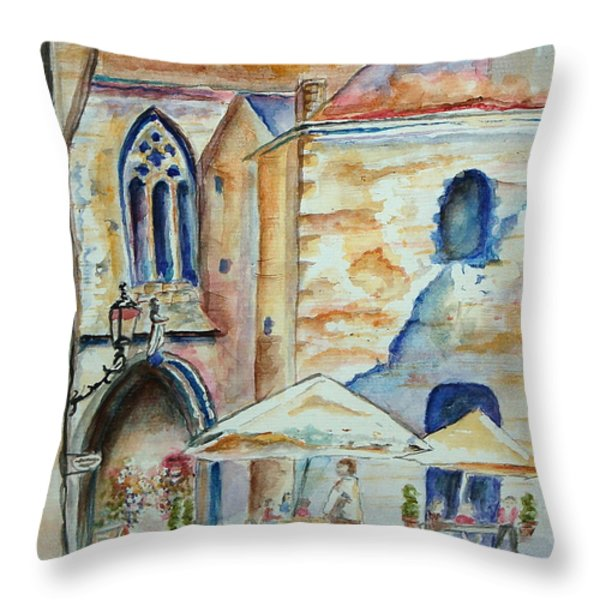 European Cafe Throw Pillow by Tamyra Crossley