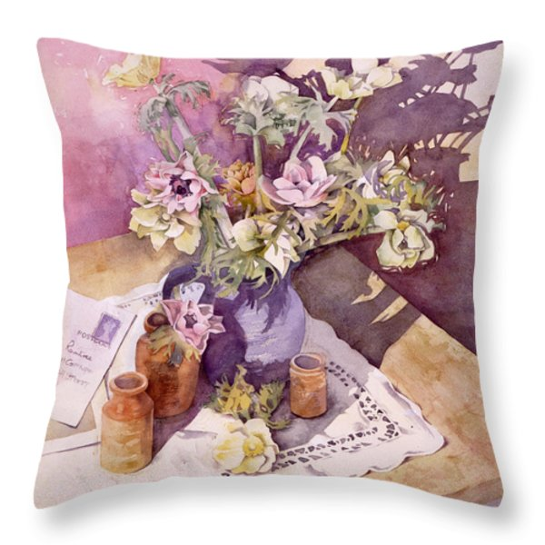 Evening Anemones Throw Pillow by Julia Rowntree
