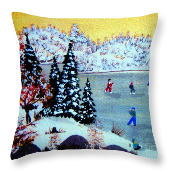 Evening Skating Throw Pillow by Barbara Griffin