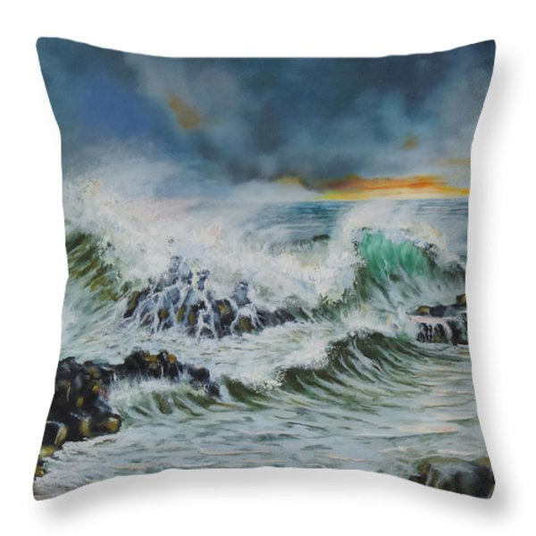 Evening Surf At Castlerock Throw Pillow by Barry Williamson