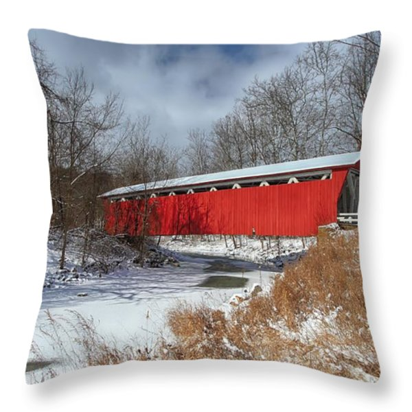 Everett Rd. Covered Bridge Throw Pillow by Daniel Behm