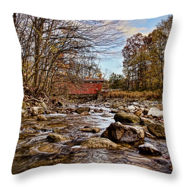 Everett Rd Covered Bridge Throw Pillow by Jack R Perry