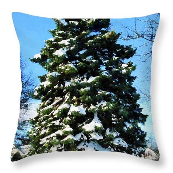 Evergreen In Winter Throw Pillow by Susan Savad