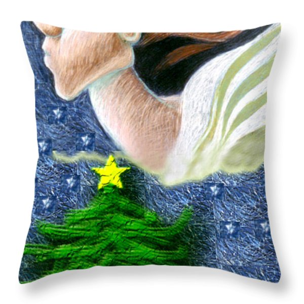 Everseeing Christmas Angel Throw Pillow by Genevieve Esson