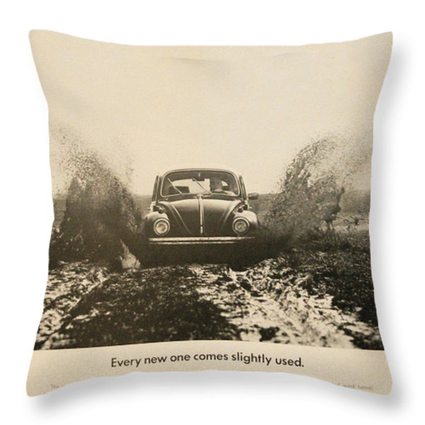 Every New One Comes Slightly Used - Vintage Volkswagen Advert Throw Pillow by Nomad Art And  Design