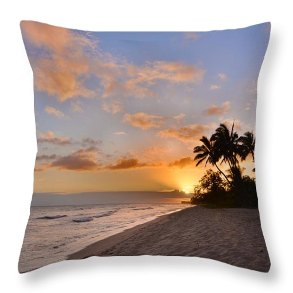 Ewa Beach Sunset 2 - Oahu Hawaii Throw Pillow by Brian Harig