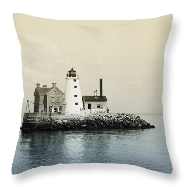 Execution Rocks Lighthouse New York Throw Pillow by Digital Reproductions