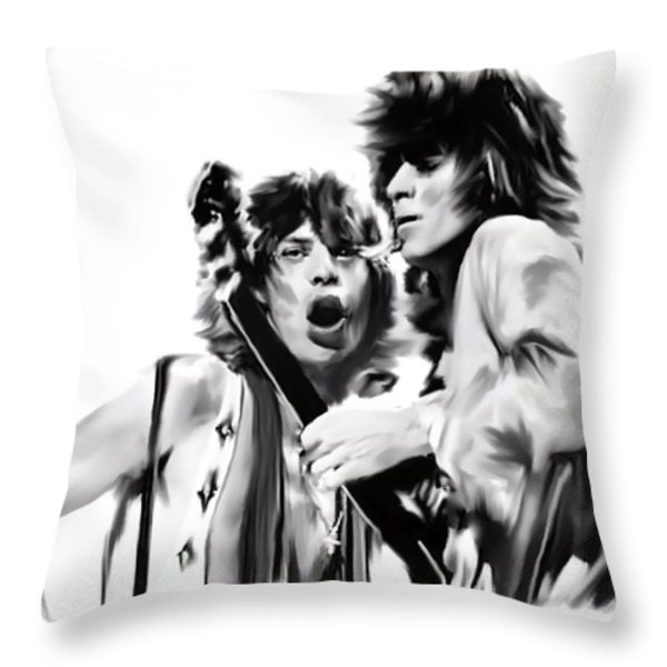 Exile  Mick Jagger and Keith Richards Throw Pillow by Iconic Images Art Gallery David Pucciarelli