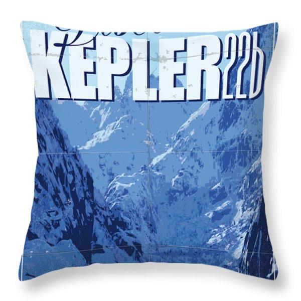 Exoplanet 02 Travel Poster KEPLER 22b Throw Pillow by Chungkong Art